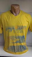 Футболка мужская модная молодежная ETTE с рисунком на груди код 8021 желтая