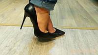 Туфли женские лодочки черные матовая кожа в наличии шпилька 11см