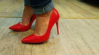 Купить туфли женские лодочки красные  под кожа