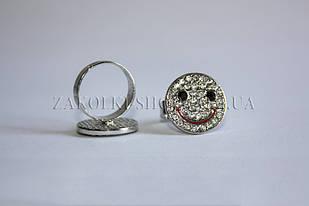 Кільця смайл, роз'ємні, камені чеське скло, 1 шт.