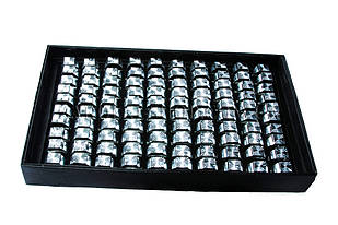 Кільця металеві печатки під срібло, 100 штук в коробці