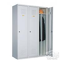 Гардеробный трехячеечный металлический шкаф 1800(h)x900x500 мм