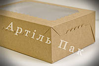 Коробка КРАФТ 355*255*100 для 12 кексів, маффінів, капкейків з мелованого  картону з прозорим вікном