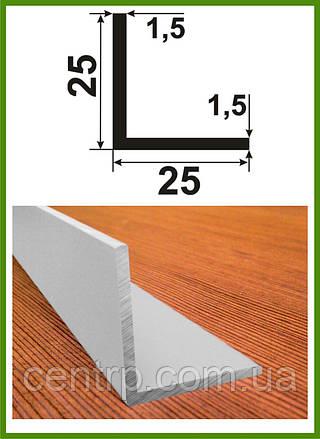 """25*25*1,25. Уголок алюминиевый равносторонний. Анод """"Серебро"""". Длина 3,0м."""