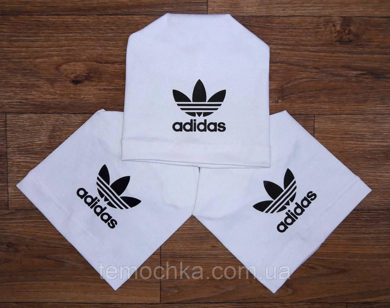 Шапка шапочка белая спортивная детская для мальчика или девочки Адидас Adidas