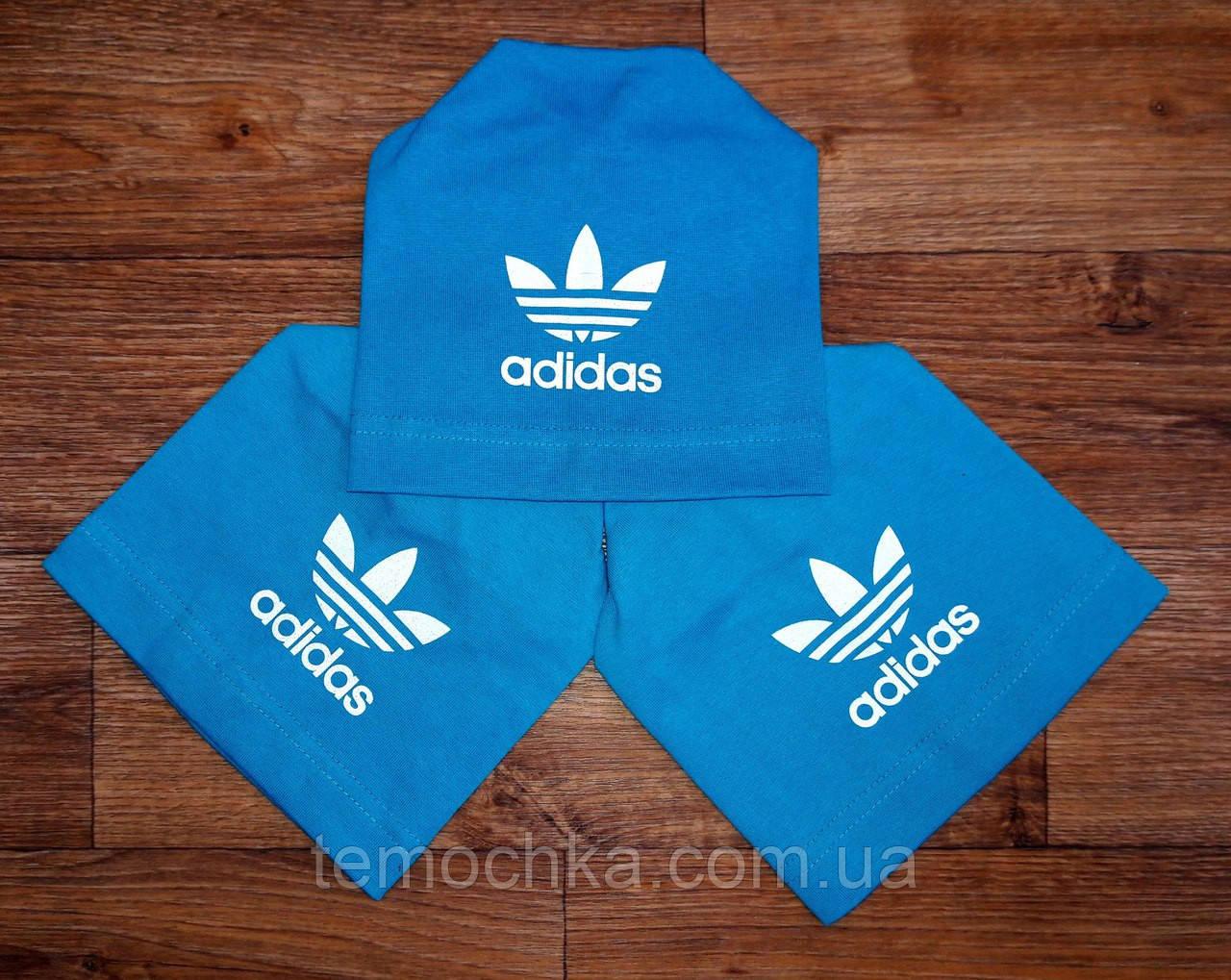 Шапка шапочка голубая спортивная детская для мальчика или девочки Адидас Adidas