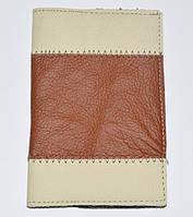 Обложка на паспорт, кожа, коричневый с светло-бежевым 143_28a11