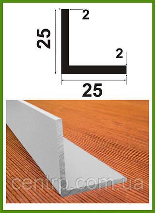 """25*25*2. Уголок алюминиевый равносторонний. Анод """"Серебро"""". Длина 3,0м."""