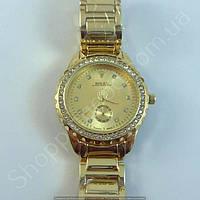 Часы Rolex Oyster Perpetual B3 (113865) женские золотистые в стразах на металлическом браслете