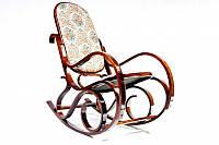 Кресло-качалка ореховое (ткань/цветы)