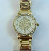 Часы Michael Kors MK-1132 (250905) женские золотистые с серебристым циферблатом на браслете календарь стразы