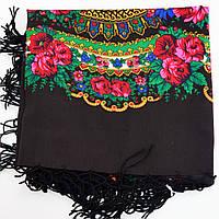 Украинский платок с бахромой черный