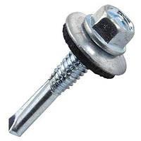 Саморез-Винт самосверлящий 5.5*32 с шестигранной головкой, шайбой и уплотнительным кольцом. (100ШТ)