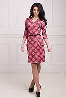 Красивое деловое платье с баской в красном цвете на талии черный пояс