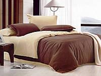Красивое однотонное постельное бельё цвета шоколад Valtery MO-6 CB18
