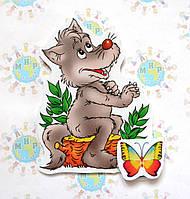Магнитный стенд для крепления рисунка магнитом Волк