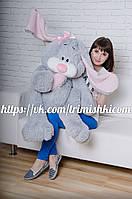 Большой зайка 120 см.Мягкая игрушка зайка.Игрушка кролик. Серый