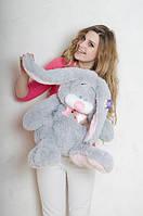 Мягкая ирушка зайка.Игрушка Кролик 75 см.Милые мягкие игрушки.Купить зайку. Серый