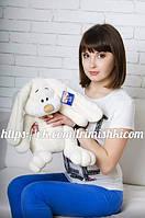 Мягкая игрушка зайчик, плюшевый кролик  Кнопа 55см. Бежевый
