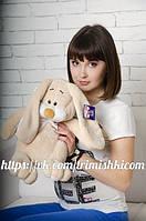 Мягкая игрушка зайчик, плюшевый кролик  Кнопа 55см. Кофе с молоком