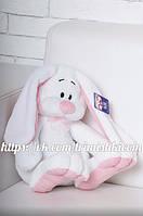 Мягкая игрушка зайчик, плюшевый кролик  Кнопа 55см. Белый