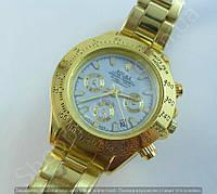 Часы Rolex Daytona Gold 7881 (113868) женские золотистые с белым циферблатом на браслете календарь
