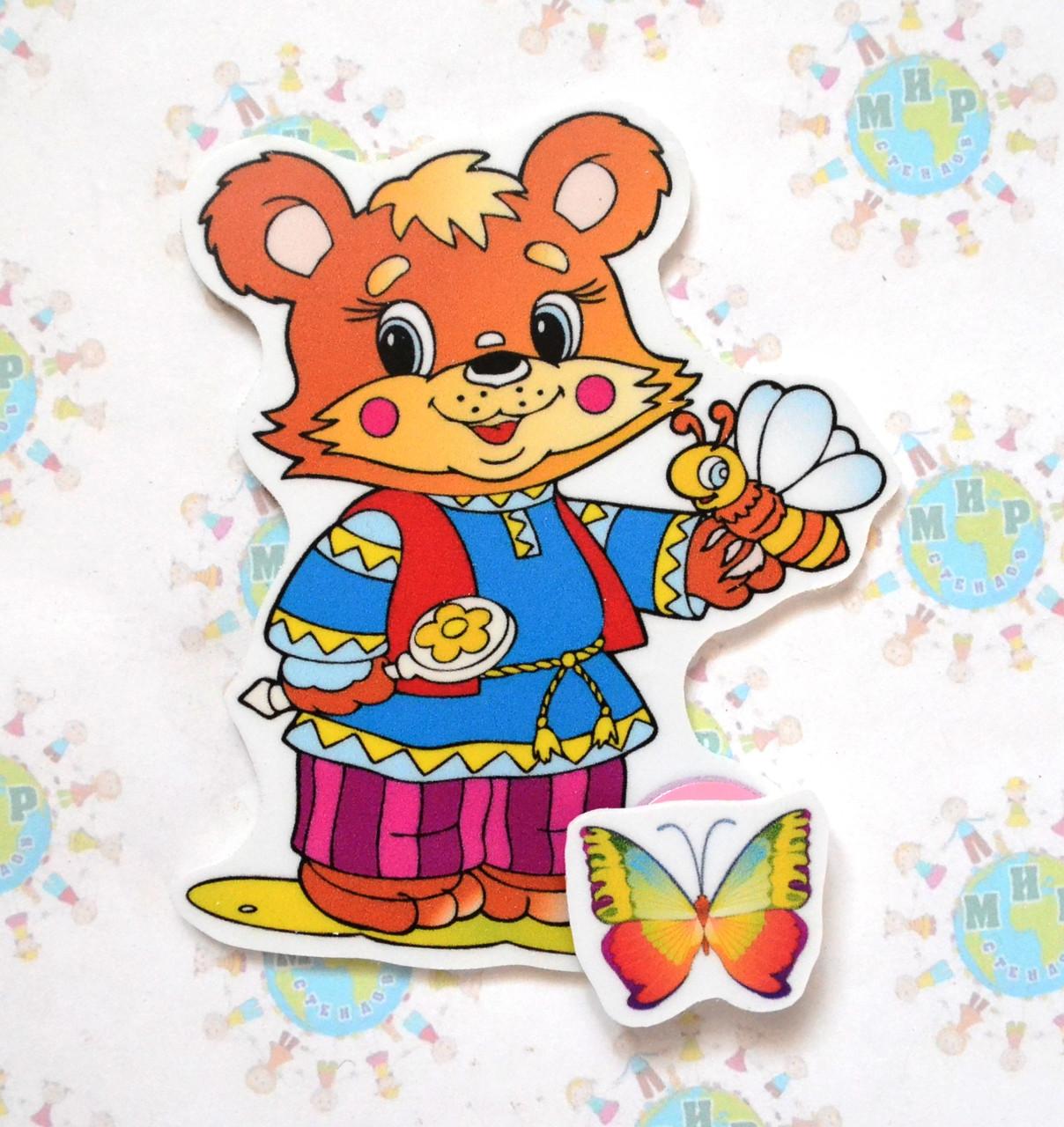Магнитный стенд для крепления рисунка Медведь и пчелка
