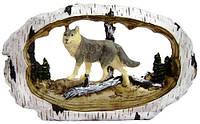Статуэтка животных на полку, волк, медведь, лось,