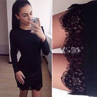 Женское платье кружево 282 черный и марсал