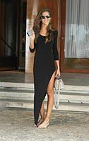 Женское Платье в пол с большим разрезом  черное и серое