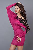 Оригинальное молодежное платье-туника с кружевным плетением