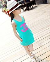 Летнее платье трапеция для девочки Коко Шанель размер 110 цвет бирюза
