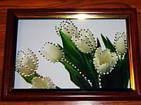 Картина  из страз Белые тюльпаны 13х18 см