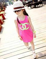 Летнее платье трапеция для девочки Коко Шанель розовое