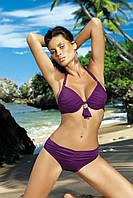 Раздельный купальник с золотою брошью  фиолетовый, M