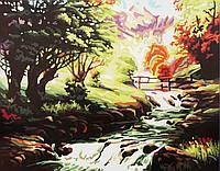Картина раскраска по номерам без коробки Горная речка (BK-T084) 40 х 50 см