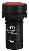 Кнопка натиснена з А+НЗ контактом TN11C2 (червоний), ETI, 4770065