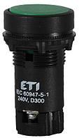 Кнопка утопленная с НО+НЗ контактом TN12C2 (зеленый), ETI, 4770066