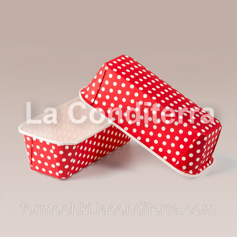 """Формы для кексов Plumpy """"Горох на красном"""", прямоугольные 158x54x50 мм"""