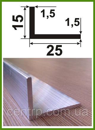 15*25*1,5. Уголок алюминиевый разносторонний. Без покрытия.