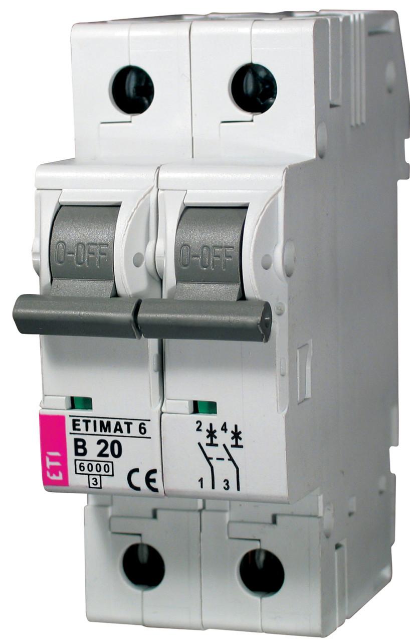 Авт. выключатель ETIMAT 6 2p B 20А (6 kA), ETI, 2113517