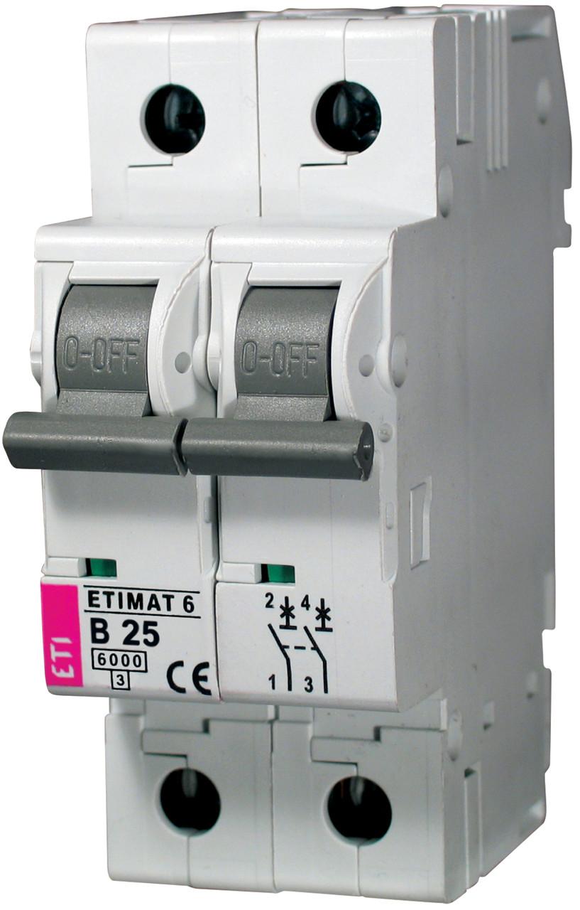 Авт. вимикач ETIMAT 6 2p B 25А (6 kA), ETI, 2113518