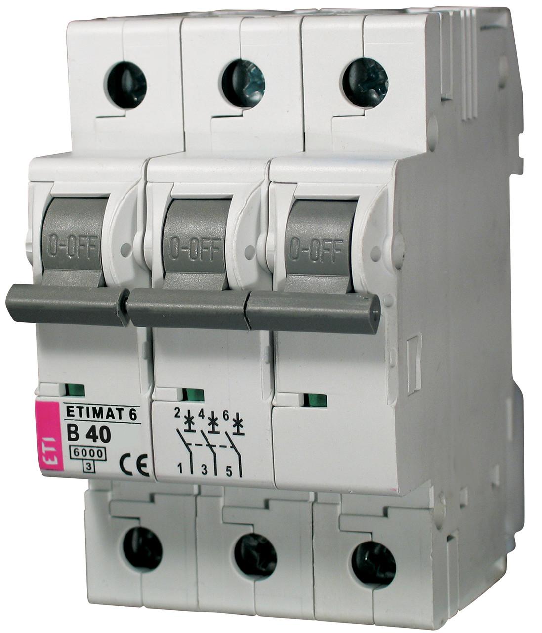 Авт. выключатель ETIMAT 6 3p B 40А (6 kA), ETI, 2115520