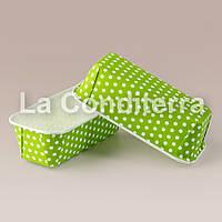 """Цветные формы для кексов Plumpy """"Горох на зеленом"""", прямоугольные 158x54x50 мм"""