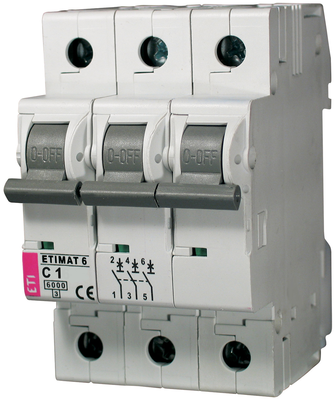 Авт. вимикач ETIMAT 6 3p C 1 A (6kA), ETI, 2145504