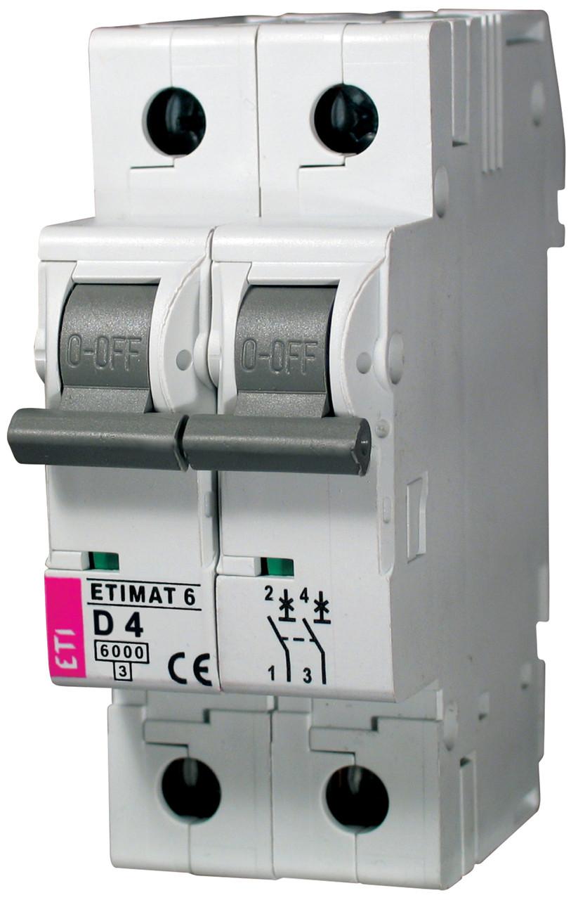 Авт. выключатель ETIMAT 6 2p D 4A (6kA), ETI, 2163510