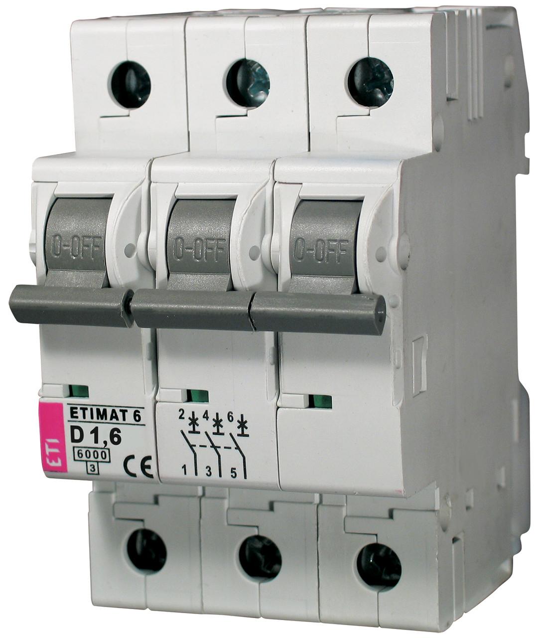 Авт. выключатель ETIMAT 6 3p D 1,6A (6kA), ETI, 2164507