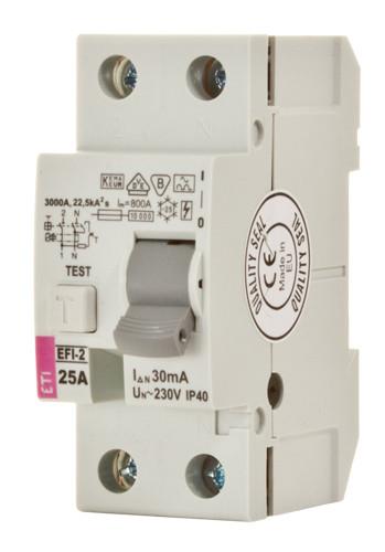 Реле дифференциальное (УЗО) EFI-2 80/0,1 тип AC (10kA), ETI, 2063125