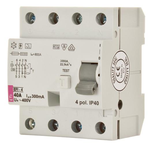 Реле дифференциальное (УЗО) EFI-4 63/0,03 тип AC (10kA), ETI, 2062144