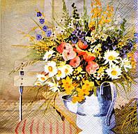 """Салфетка для декупажа """"Полевые цветы"""", размер 33*33 см, трехслойная"""